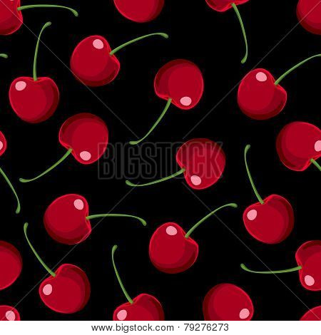 Red Cherries Seamless Pattern