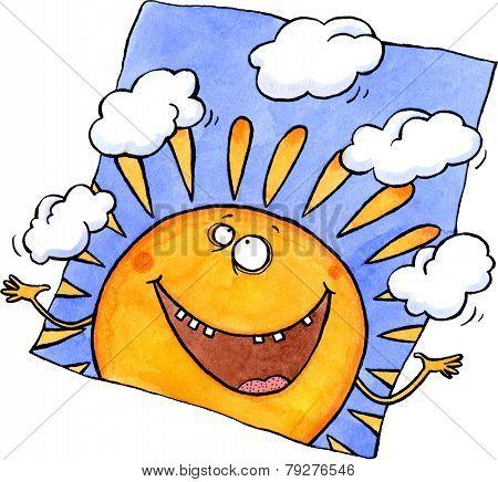Smiling sun juggling clouds