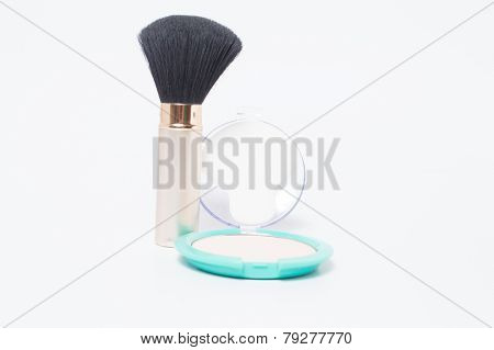 Brush with cosmetic powder makeup for women
