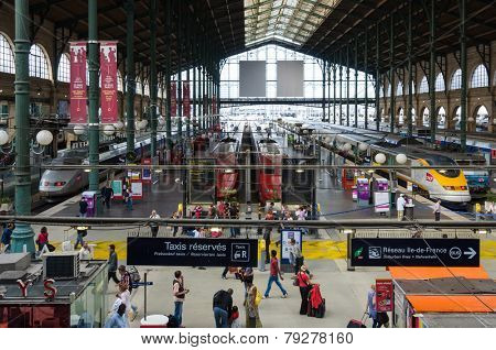 PARIS, FRANCE - CIRCA AUGUST 2011: TGV's and Thalys trains in Gare du Nord.