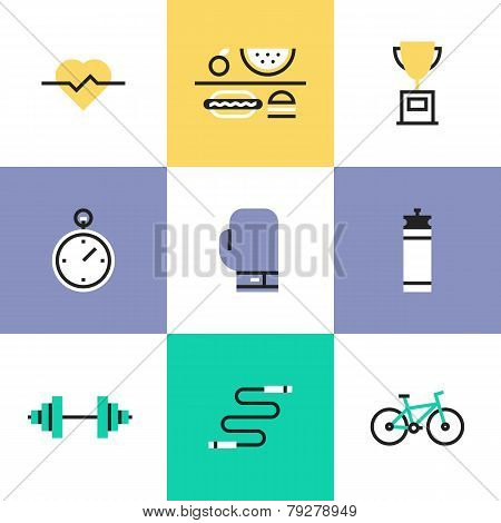 Fitness And Health Care Pictogram Icons Set