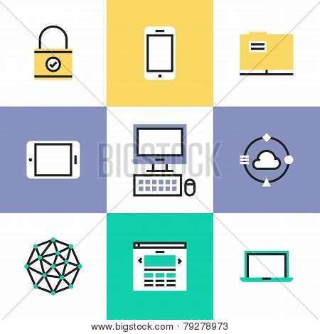 Technology And Networking Pictogram Icons Set