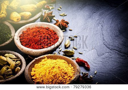 Colorful Mix Of Spices On Dark Background