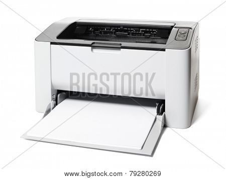Small laser printer isolated on white background