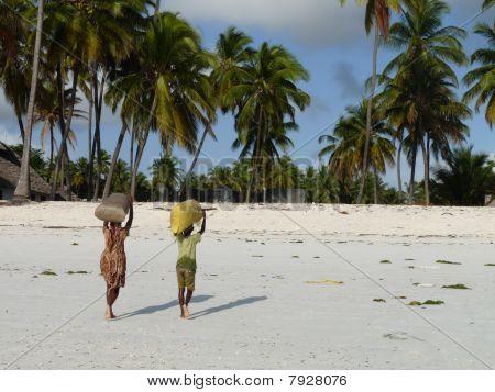 Children carrying sacks on tropical beach