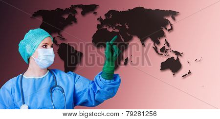 Medical Female Doctor World Map
