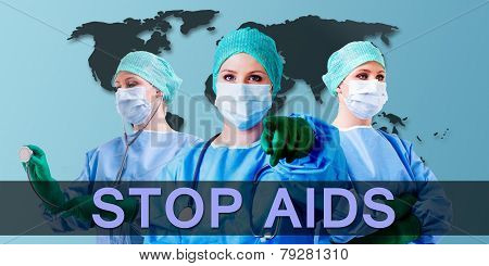 Medical Female Doctor World Map Stop Aids