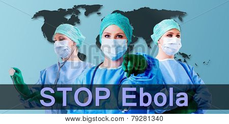 Ebola Medical Female Doctor World Map