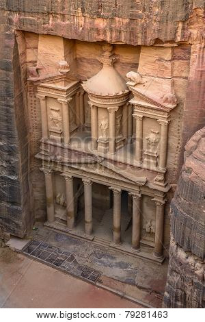 The Treasury In The  Ancient City Of Petra, Jordan As Seen From The Cliff.