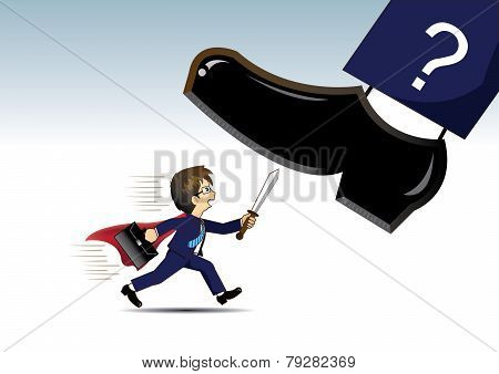 Businessman go running fights Very big shoes