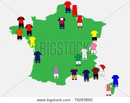 French League Clubs Map 2013-14