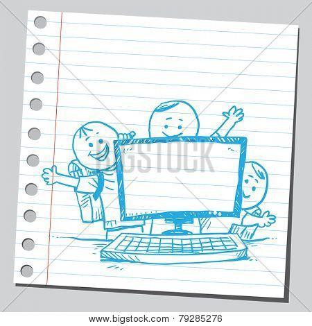 Schoolkids behind computer