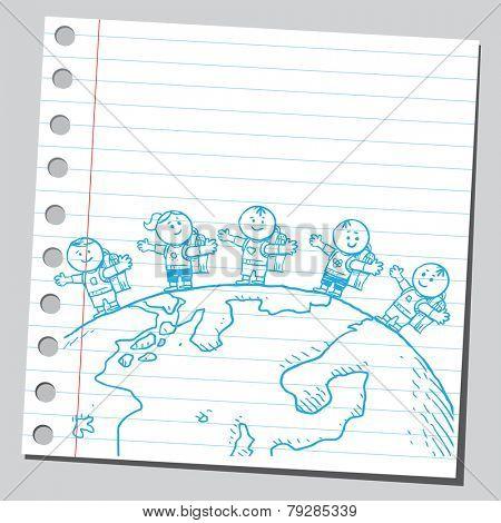 Schoolkids around planet