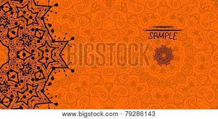 Orange greeting card with tribal ornament. Flayer template. Wedding invitation design. Retro ethnic