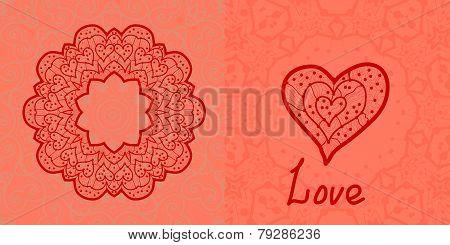 Love card. Valentine flayer template. Wedding invitation. Mandala like stylized flower and heart sha