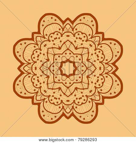 Ornamental outline mandala. Vector square flyer card design. Invitation card. Vintage decorative ele