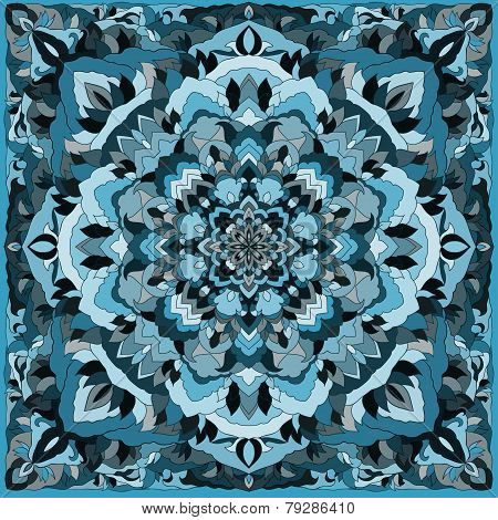 Hand-drawing Ornamental Floral Abstract Cover For Design Of Silk Neckerchiefs Or Printin On Textile