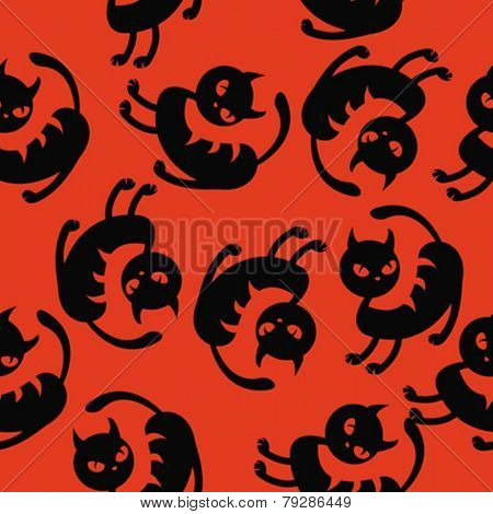 black cat seamless pattern cartoon illustration on red