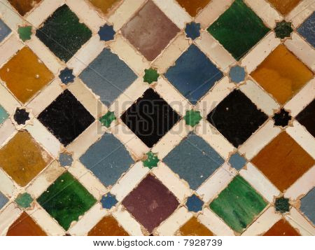 Wall tiles at the Alhambra in Granada, Spain