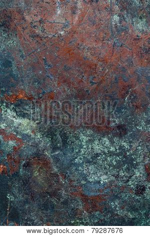 Oxidized Copper Plate Surface
