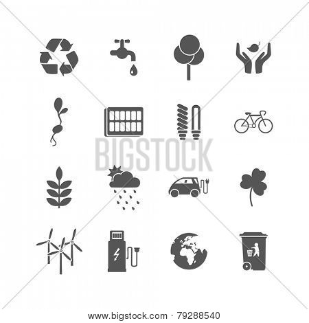 set of isolated ecology icons