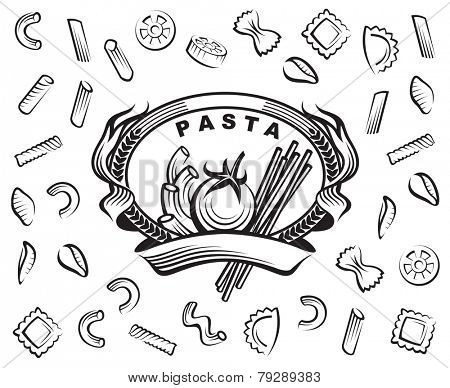 set of various pasta elements