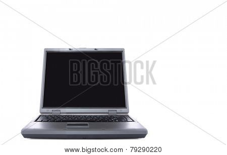 laptop with black screen isolated over white background