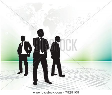 Abstract background with standing success businessman silhouetted