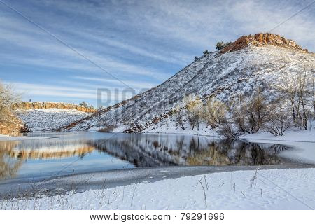 Horsetooth Reservoir near Fort Collins in northern Colorado in early winter scenery