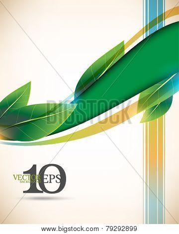 eps10 vector leaf and wave green elements, multicolor lines elegant business background
