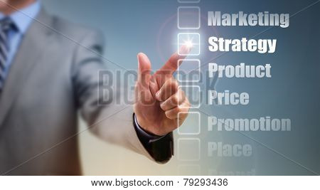 Businessman selecting marketing mix strategy options for product, price, promotion, place and brand