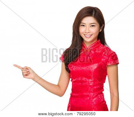 Chinese woman finger point up