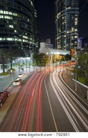 poster of brisbane city traffic by night