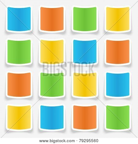 Colorful blank sticker web buttons