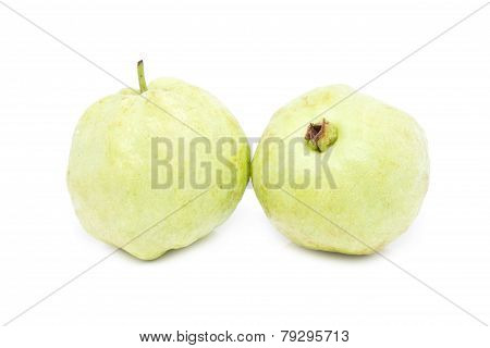 Guava Fruits Isolated On White.