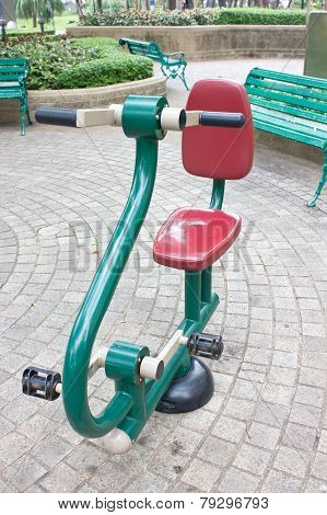 Gym Machine For Strenght Training At Public Park.