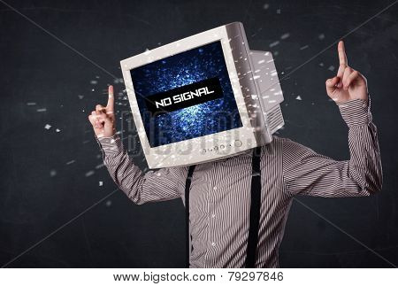 Man with a monitor head, no signal sign exploding out of the display