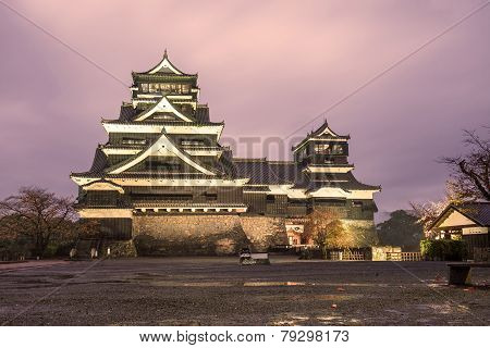 Twilight Of Kumamoto Castle In Northern Kyushu, Japan