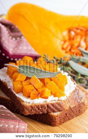 Openfaced sandwich with ricotta and squash