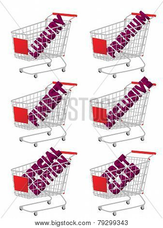 Red 3D Shopping Cart With Luxury Articles Texts
