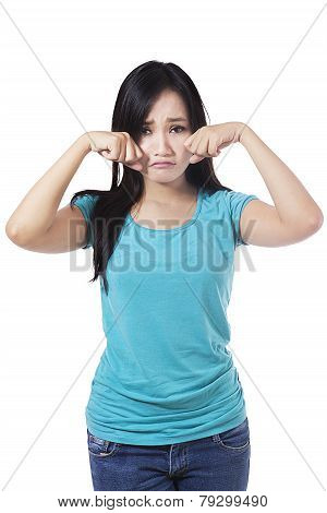 Casual Girl With Sad Expression