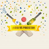 stock photo of cricket bat  - India Vs Pakistan Cricket match concept with bats and ball on ribbon decorated background - JPG
