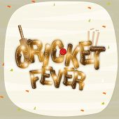 picture of cricket bat  - Shiny text of Cricket Fever with bat - JPG