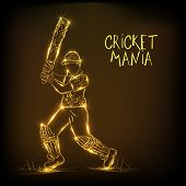 stock photo of cricket  - Golden illustration of batsman in playing action for Cricket Mania on brown background - JPG