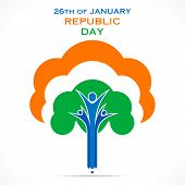 stock photo of ashok  - creative republic day greeting design with tree or unity concept design vector - JPG