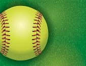 foto of softball  - An aerial view of a softball on a realistic textured field illustration - JPG