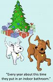 foto of christmas dog  - The dogs are enjoying the Christmas tree being inside the house - JPG