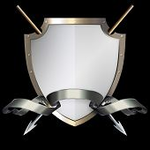stock photo of spears  - Medieval riveted shield with two spears and silver ribbon on black background - JPG