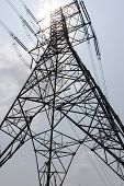 foto of power transmission lines  - Electric Power Transmission Line with the sky - JPG
