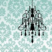 image of chandelier  - Damask wallpaper with chandelier - JPG